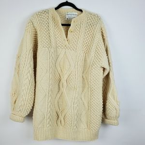 Purple Heather Handknits Irish Wool Pullover L